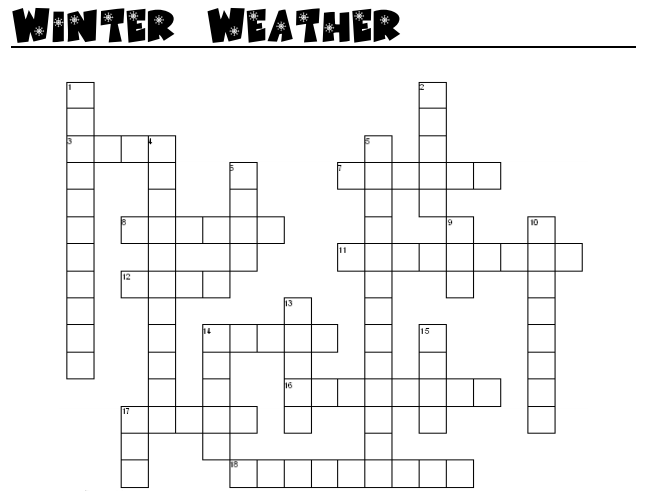 Winter Weather Cross Word