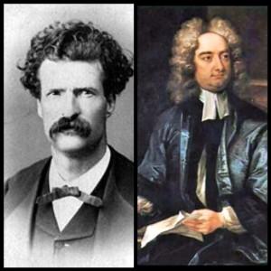 Mark Twain (left), Jonathan Swift (right)